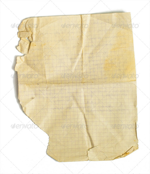 Old jammed paper sheet for math isolated on white - Stock Photo - Images