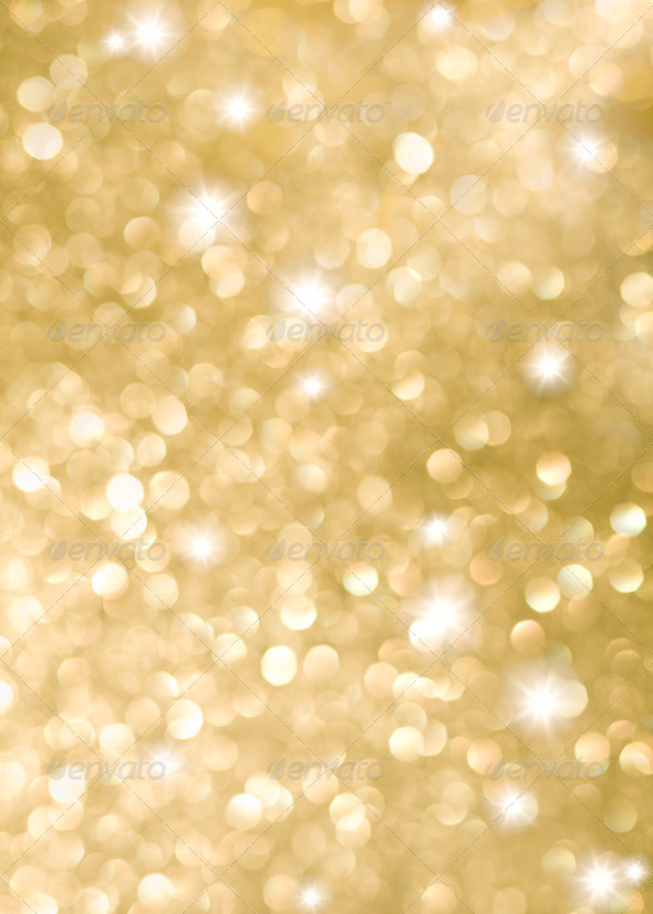 Abstract background of golden holiday lights - Stock Photo - Images