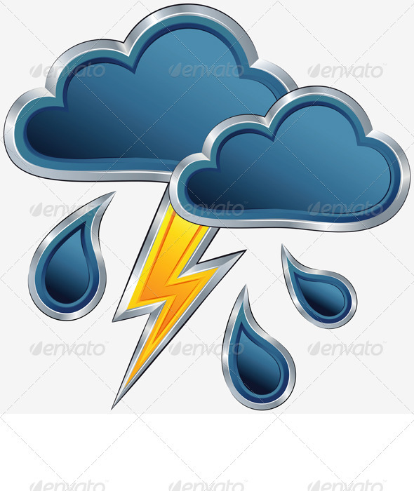 GraphicRiver Vector Weather Icon with a Storm Weather 3310269