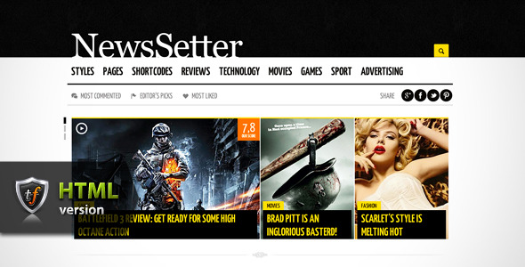 NewsSetter - News, Technology &amp; Reviews HTML Theme