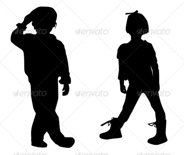 Silhouette happy children - Stock Photo - Images