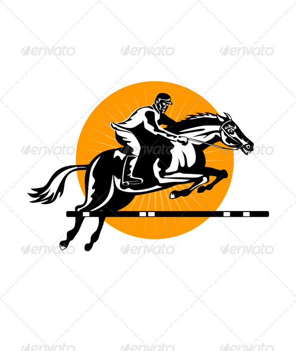GraphicRiver Equestrian Show Jumping Retro 3310450