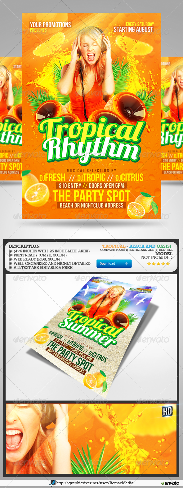 GraphicRiver Tropical Party Flyers 2645156