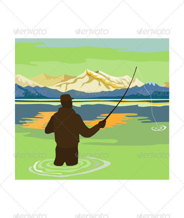 GraphicRiver Fly Fisherman Rod and Reel Retro 3310467