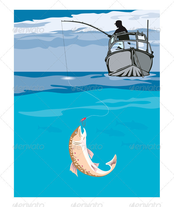 GraphicRiver Fisherman Fishing Trout Fish Retro 3310469