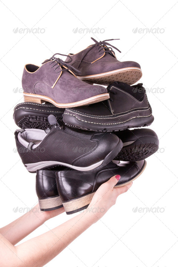 Many men's shoes - Stock Photo - Images