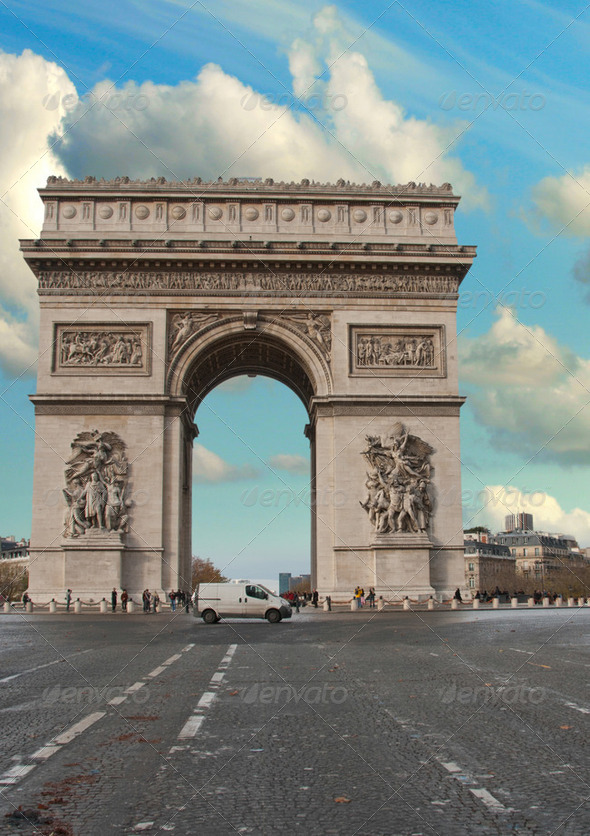 Colors of Sky over Triumph Arc, Paris - Stock Photo - Images