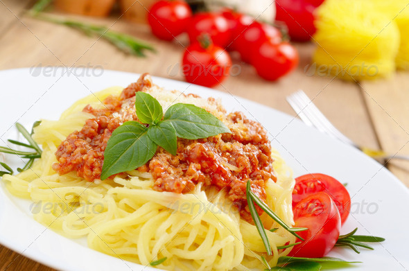 Pasta with a tomato beef sauce - Stock Photo - Images