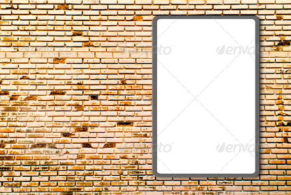 3d Blank advertising billboard on brick wall - Stock Photo - Images