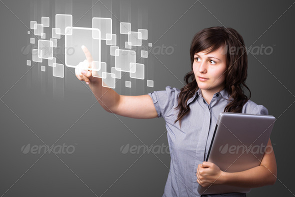 Businesswoman pressing high tech type of modern buttons - Stock Photo - Images