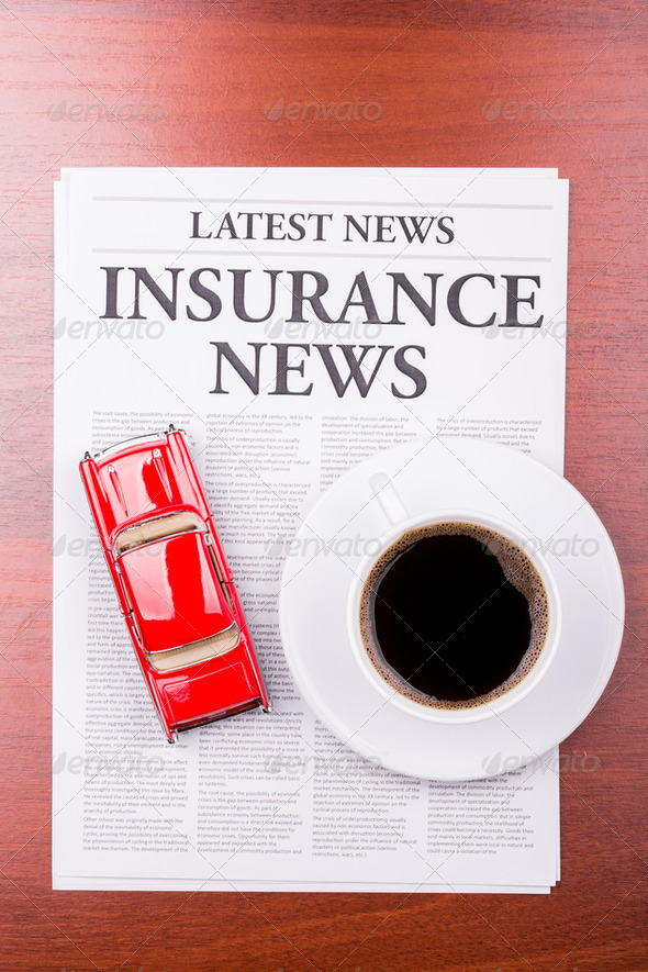 The newspaper  INSURANCE NEWS and auto - Stock Photo - Images