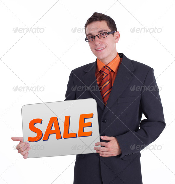 businessman holding blank card - Stock Photo - Images