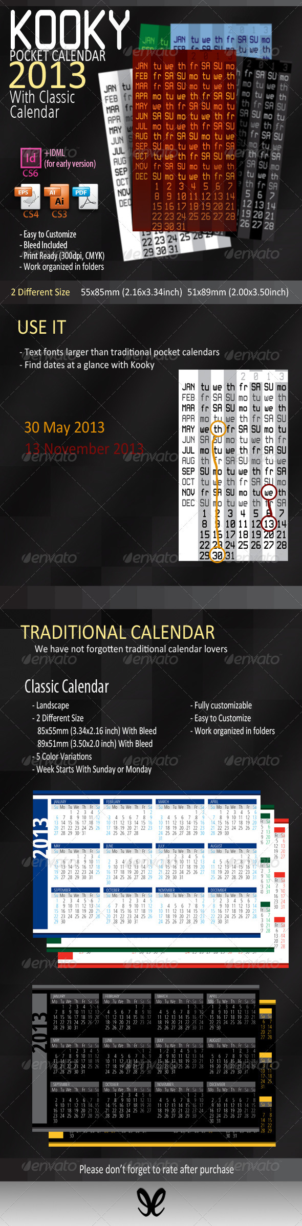 GraphicRiver Kooky&Classic Pocket Calendar 2013 3312747