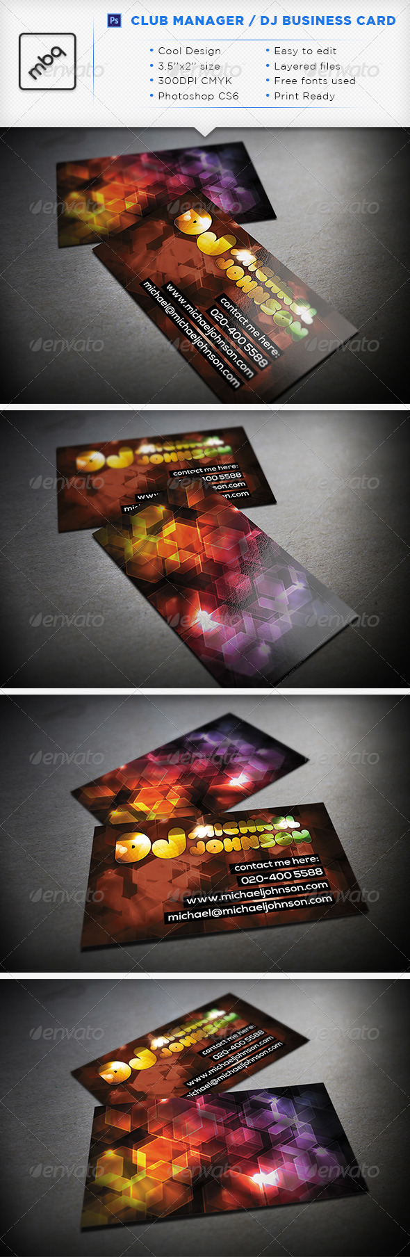 GraphicRiver Club Manager DJ Business Card 3312841