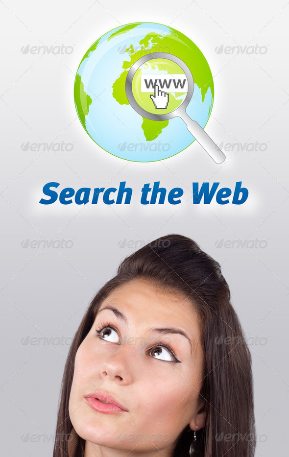 Young girl looking at internet type of icons - Stock Photo - Images