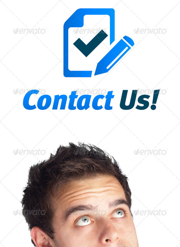 Young head looking at support contact type of icons and signs - Stock Photo - Images