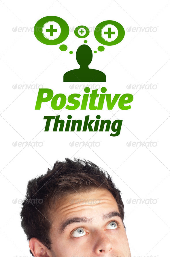 Young head looking at positive negative signs - Stock Photo - Images