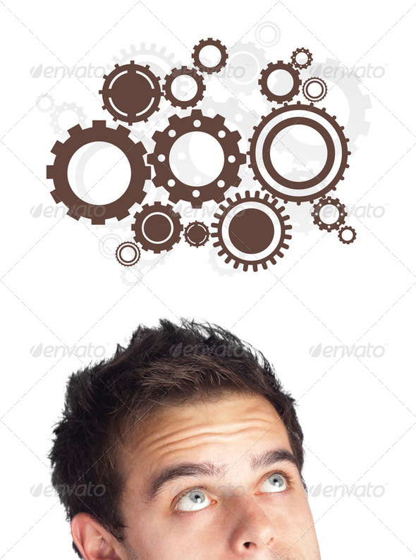 Young person looking at idea type of sign - Stock Photo - Images