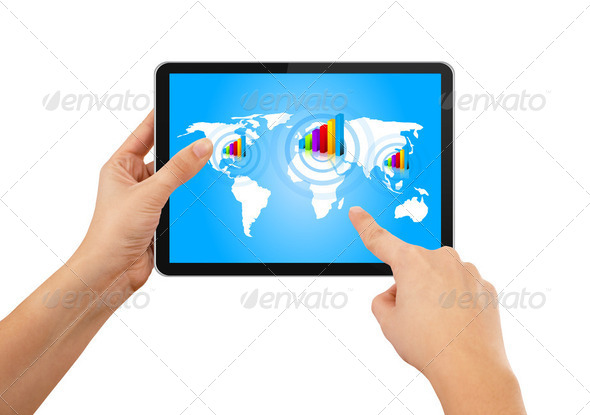 Hand pushing stock growth on tablet with blue earth map - Stock Photo - Images
