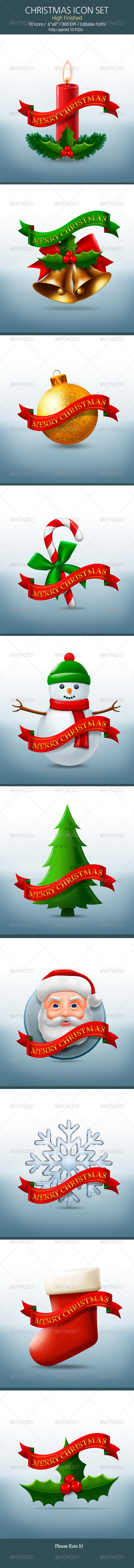 GraphicRiver 10 Christmas Icon Set 3315520