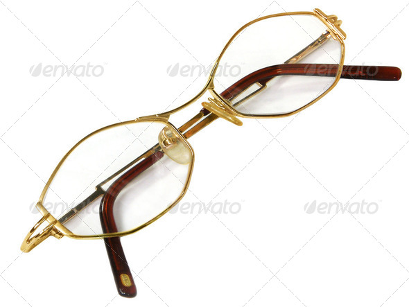 gold glasses isolated - Stock Photo - Images