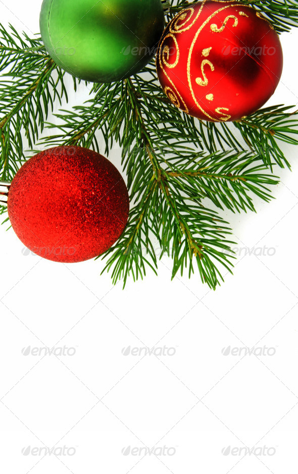 Christmas  decoration tree and red balls - Stock Photo - Images