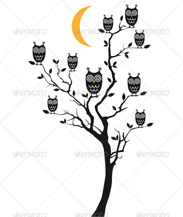 GraphicRiver Owls Sitting On Tree Vector 3316832