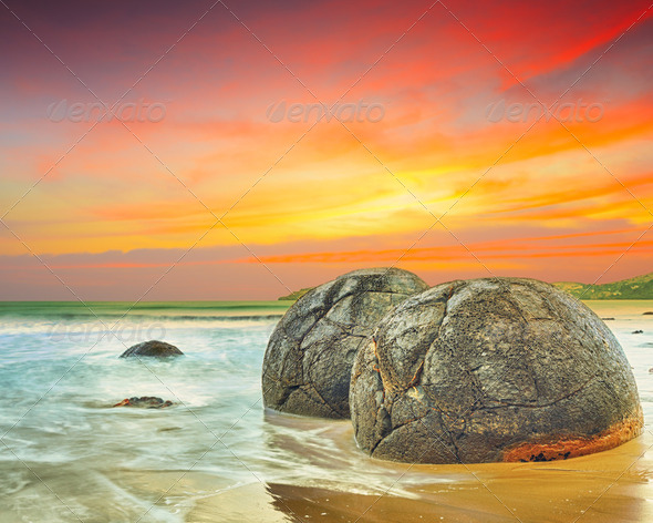 Moeraki Boulders - Stock Photo - Images