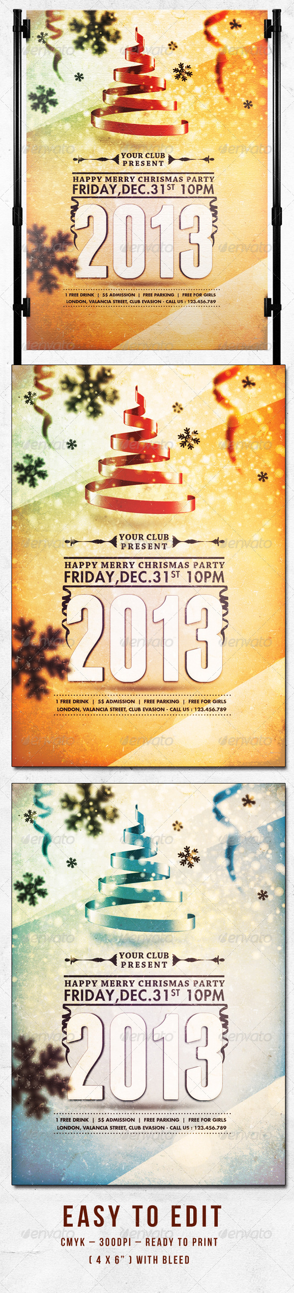 GraphicRiver Happy Merry Christmas Party Flyer Template 3317005