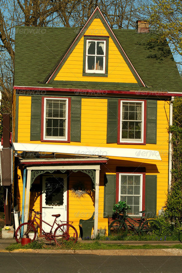 Colorful yellow house  - Stock Photo - Images