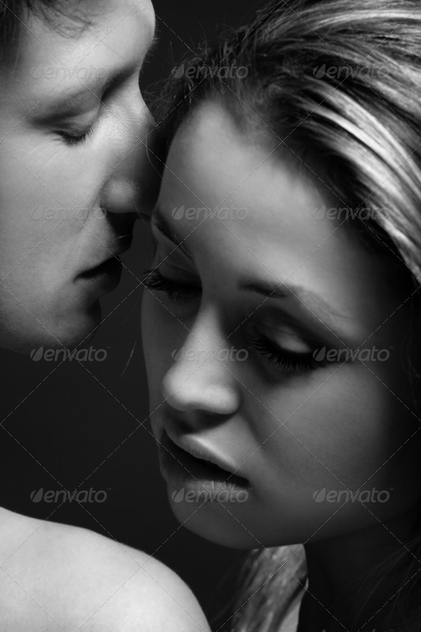 B&W portrait of a passionate couple - Stock Photo - Images