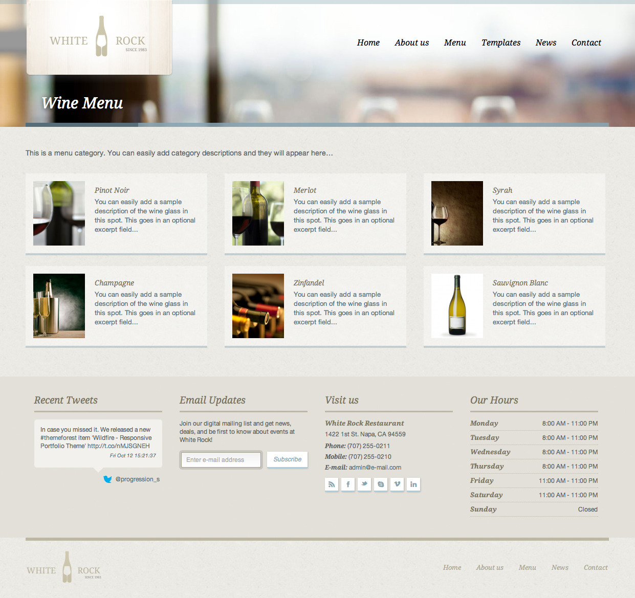 White Rock - Restaurant & Winery Theme