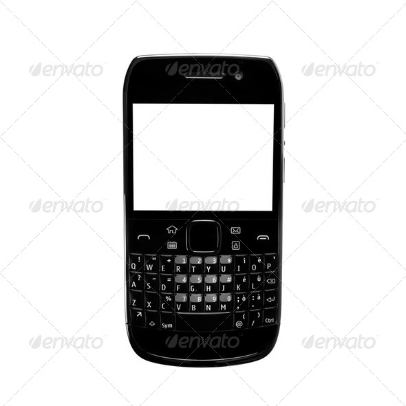 Smartphone white screen qwerty keypad isolated. Black color. - Stock Photo - Images