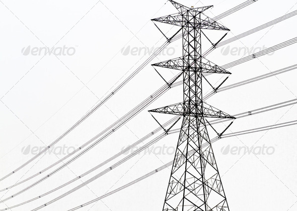 High voltage power pole on white background - Stock Photo - Images