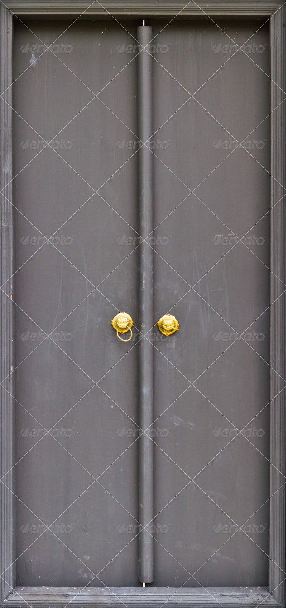 Wood doors black - Stock Photo - Images