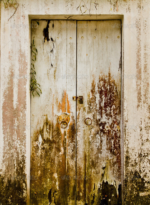 The white wooden door - Stock Photo - Images