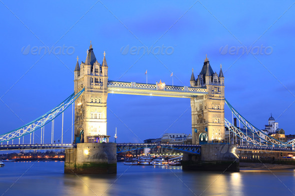 London Tower Bridge at Dusk - Stock Photo - Images