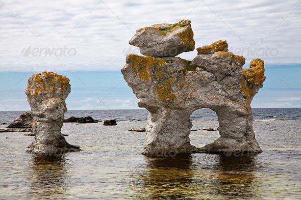 limestone pillars - Stock Photo - Images