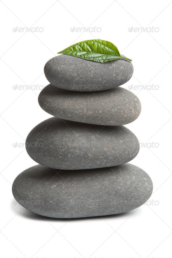 spa stones and leaf isolated - Stock Photo - Images