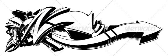 GraphicRiver Black and white graffiti background 3318875