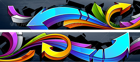 GraphicRiver Two horizontal graffiti banners 3318887