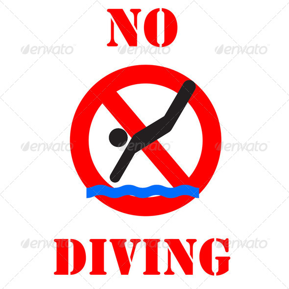 no diving sign illustration - Stock Photo - Images