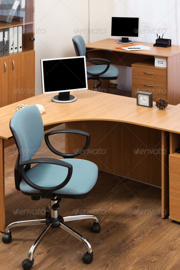monitor on a desks - Stock Photo - Images