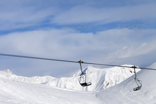 Chair lift at ski resort - Stock Photo - Images