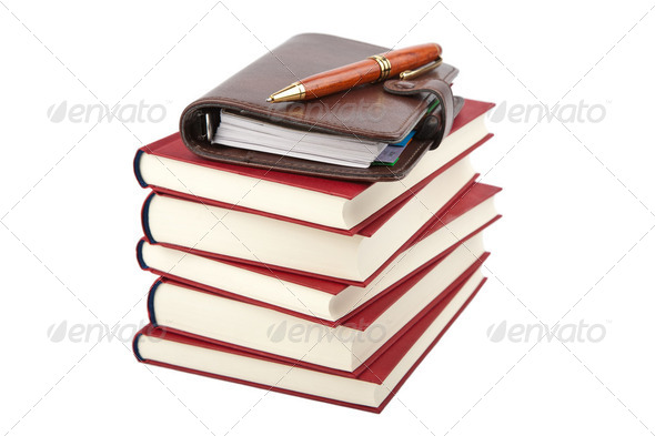 pocket planner and books isolated - Stock Photo - Images