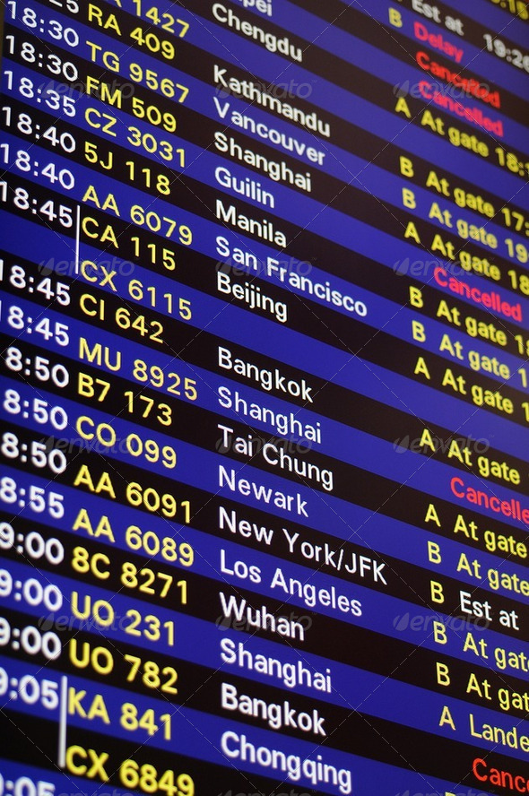 Flight schedule information board - Stock Photo - Images