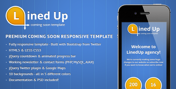 LinedUp Responsive Coming Soon Template