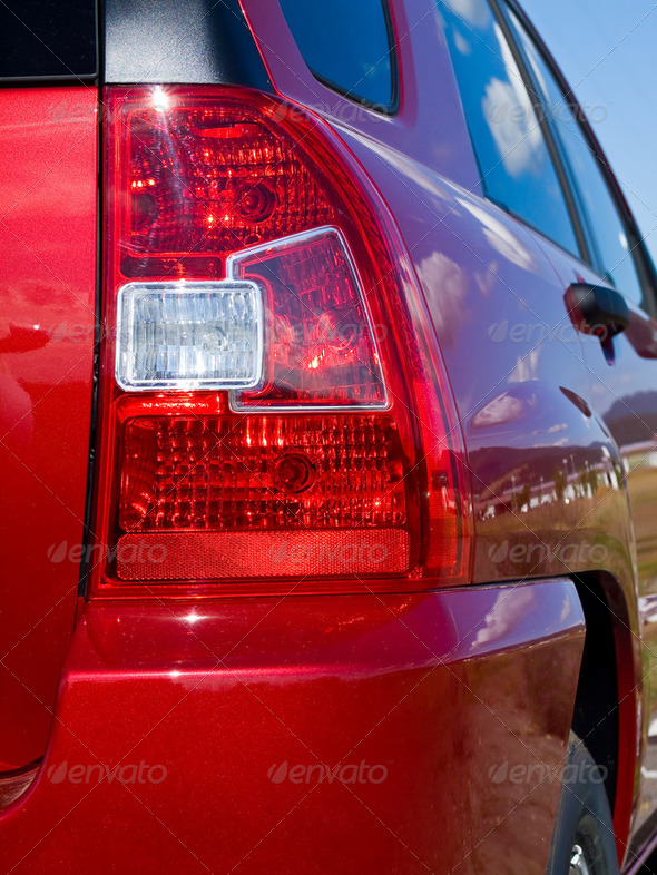 Close Up of a New Car Taillight - Stock Photo - Images