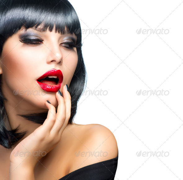 Beautiful Brunette Girl Portrait over White. Sensual Red Lips - Stock Photo - Images