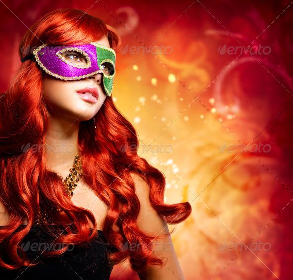 PhotoDune Beautiful Girl in a Carnival mask 3321179